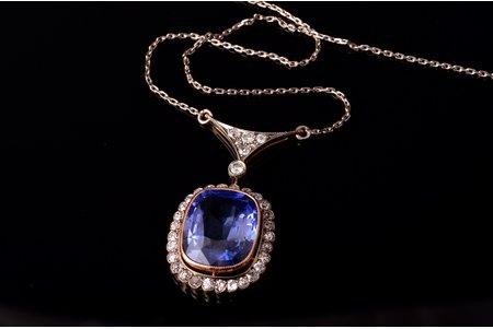 ожерелье, неглиже, золото, 583 проба, 8.31 г., алмаз, синтетический сапфир, СССР, длина цепочки - 46 см, кулон - 3.4 x 1.8 см