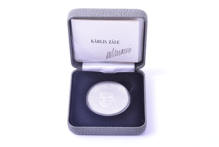 1 lat, 2012, Karlis Zale, with a certificate signed by the author, silver, Latvia, 22.00 g, Ø 35.00 mm, Proof, in a case