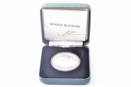 "1 lat, 2013, ""Rūdolfs Blaumanis"", certificate with coin's author autograph, silver, Latvia, 22 g, Ø 35 mm, Proof, in a case"