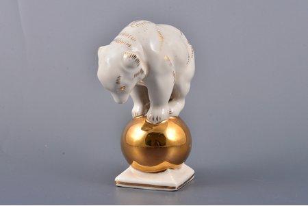 figurine, Bear on a ball, porcelain, Riga (Latvia), Riga porcelain factory, the 60ies of 20th cent., 10.8 cm, top grade