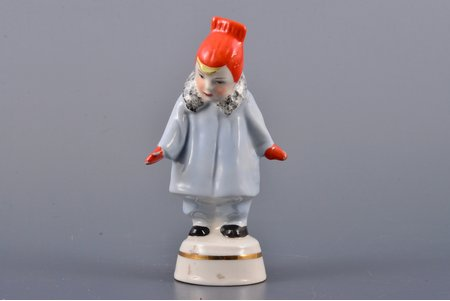 figurine, A girl wearing coat (Winter), porcelain, Riga (Latvia), USSR, Riga porcelain factory, molder - Rimma Pancehovskaya, the 60ies of 20th cent., 9.7 cm