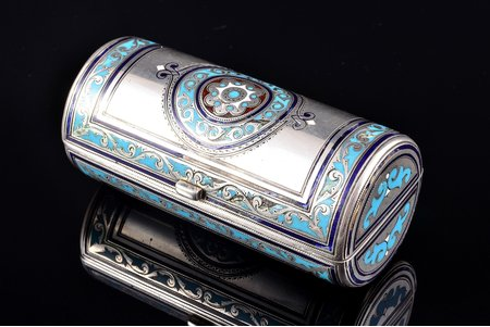 cigarette case (?), silver, 88 standart, enamel, 1886, 110.05 g, by Konstantin Skvortsov, Moscow, Russia, h - 8.6, Ø - 3.9 cm