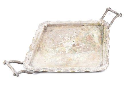 tray, Schiffers w Warszawie, silver plated, size with handles 55.7 x 37.8 cm