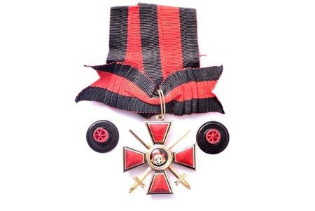"""ordenis, Svētā Vladimira, ar divām rozetēm, 4. pakāpe, zelts, Krievijas Impērija, 39.1 x 35.2 mm, """"Эдуардъ"""", kopējais svars 14.50"""
