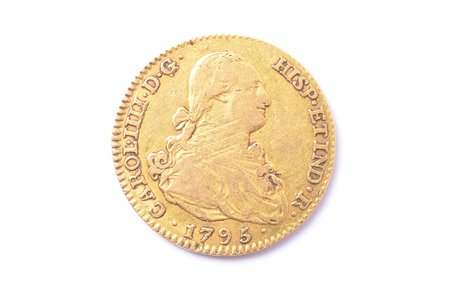 2 escudo, 1795, gold, Spain, 6.80 g, Ø 22.2 mm, VF
