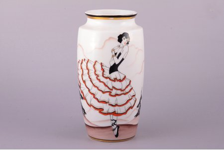 "vase, ""Dancer"", porcelain, Burtnieks manufactory, hand-painted, sketch by Sigismunds Vidbergs, Riga (Latvia), 1929-1939, h 19.4 cm"