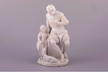 "sculptural group ""Admonition"", bisque, Russia, Imperial Porcelain Factory, molder - August Karlovich Spiess, 1866, h 20.3 cm, restoration of the man's left wrist and neck, and the girl's right wrist"