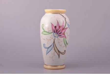 "vase, ""Flowers"", porcelain, Riga Ceramics Factory, signed painter's work, handpainted by Vera Kauriņa, Riga (Latvia), USSR, 1946, h 20.1 cm"