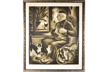 "Elgurt Iosif (1924-2007), ""Hearth keepers"" 3/10, 1992, paper, silk-screening, 60.3 x 51.9 cm"