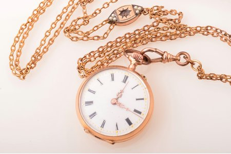 pocket watch, Switzerland, gold, 585 standart, total weight (without chain) 21.50 g, 3.7 x 3 cm, watch in working condition, chain is not gold