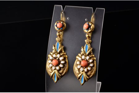 earrings, Burbonica, silver, gilding, enamel, 925 standart, 11.50 g., the item's dimensions 61.6 x 22.1 cm, coral, Italy