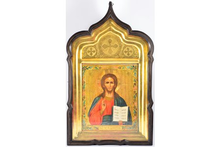 icon, Jesus Christ Pantocrator, in icon case, board, painting, gold leafy, Russia, the 19th cent., 30.3 x 26 x 22  /  62 x 35.2 x 7.5 cm