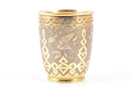 goblet, silver, 84 standart, engraving, gilding, 1865, 123.50 g, Moscow, Russia, h 8.9 cm
