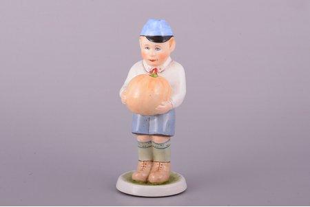 figurine, Boy with a Pumpkin, faience, Riga (Latvia), Riga Ceramics Factory, 1940-1941, 14.5 cm