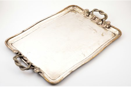 tray, Alexander Katch, Art-Nouveau, St. Petersburg, silver plated, Russia, the border of the 19th and the 20th centuries, 55 x 35.5 cm, two screw nuts missing, with scratches