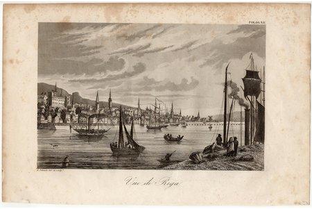 """Пилински Адам (1810-1887), """"Вид Риги"""" (""""Vue de Riga""""), 1839-1842 г., бумага, гравюра, 12,9 x 20 см"""