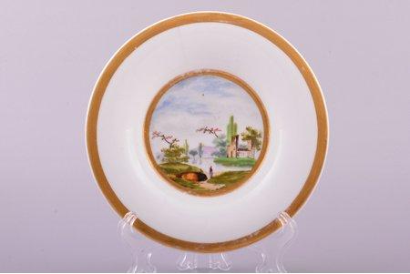 decorative plate, porcelain, Popov manufactory, Russia, the 19th cent., Ø 14.6 cm, hairline crack