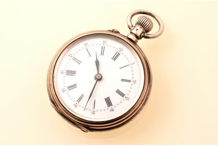 pocket watch, women, Switzerland, silver, metal, 800 standart, (total weight) 33.30 g, 5.1 x 3.5 cm, 30 mm, in working condition