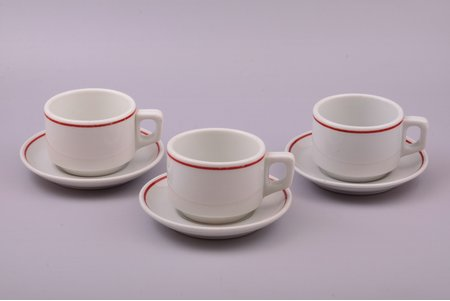 set of 3 tea pairs, Bauscher Weiden, US zone, Ø (saucer) 14.5 cm, h (cup) 6.2 cm, Germany, the 40ies of 20th cent.