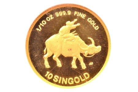 10 singold, 1985, gold, Singapore, MS 69