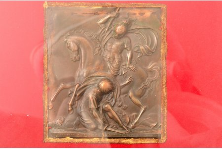 """bas-relief, """"Battle of Fère-Champenoise"""", invented and made by count Fyodor Tolstoy 1832 (Imperial Art Academy medallist), electroplate type, in a frame, bronze, 9.1 x 8.2, 30 x 20.4 cm, Russia"""