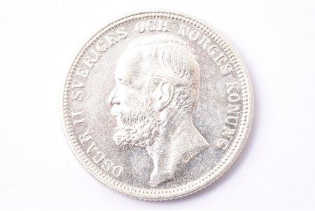 2 кроны, 1890 г., A, L, B, E, серебро, Швеция, 14.93 г, Ø 31.1 мм, AU