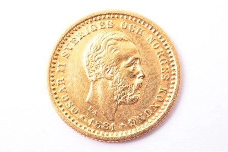 5 крон, 1881 г., A, L, B, E, золото, Швеция, 2.22 г, Ø 16 мм