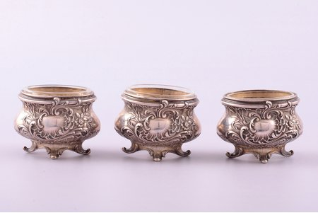 set of 3 saltcellars, silver, 950 standart, glass, silver weight 54.20g , France, 3.9 x 5.3 x 4 cm