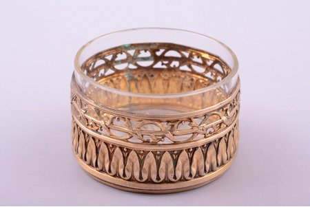 saltcellar, silver, 950 standart, glass, silver weight 13.10g, France, Ø 5 cm, h 3 cm