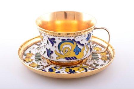"coffee pair, silver, 925 standart, cloisonne enamel, gilding, 1981, 175 g, ""Russkiye Samotsvety"", Leningrad, USSR, h (cup) 4 cm, Ø (saucer) 9.2 cm"