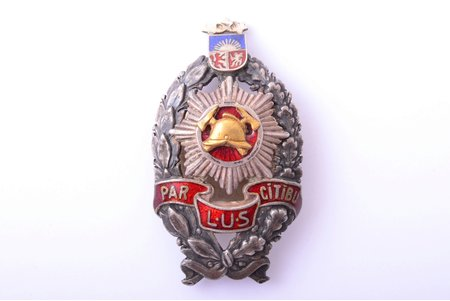 badge, LUS, For diligence (firemen badge), 1st class, Latvia, 20-30ies of 20th cent., 55.3 x 30.6 mm