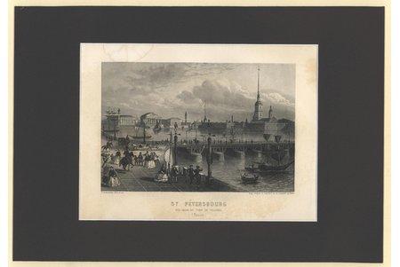"""""""Saint Petersburg""""  (""""Vue Prise du Pont de Troizkoi (Russie)""""), 1865, paper, engraving, 10.4 x 15.6 cm"""