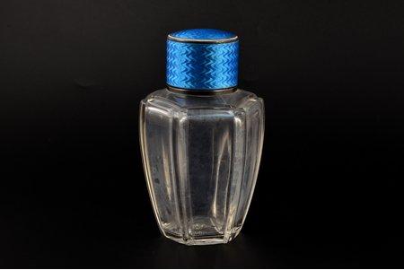 perfume flacon, 950 standart, enamel, France, 14.5 cm, cork with chips