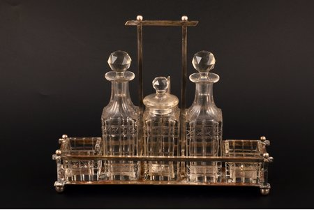 condiment set, metal, crystal, the beginning of the 20th cent., 25.3 x 6.5 x 20.6 cm