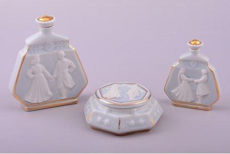 perfume set, 3 items, porcelain, Rīga porcelain factory, model by Zina Ulste, Riga (Latvia), 1956-1970, h (perfume bottles) 9.5 / 7.1 cm, case Ø 7.7 cm, first grade