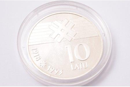 10 lats, 1993, silver, Latvia, 25.175 g, Ø 36.07 mm, AU