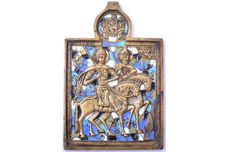 icon, Saints Boris and Gleb, copper alloy, 5-color enamel, Russia, the end of the 19th century, 13.6 x 9.1 x 0.5 cm, 248.35 g.