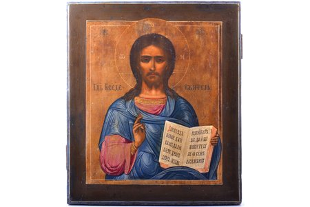 icon, Jesus Christ Pantocrator, cypress board, painting, guilding, Russia, 31 x 26.8 x 1.9 cm