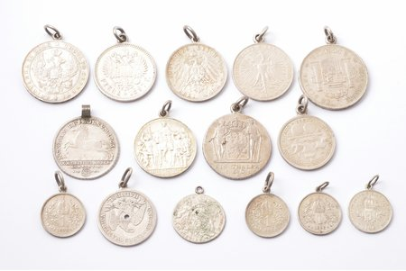 a set, 1801, 1840, 1860, 1862, 1890, 1892, 1893, 1897, 1908, 1911, 1913, 15 coins with eyelets, silver