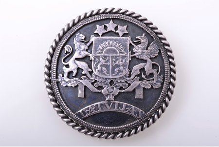 sakta, made of 5 lats coin, with coat of arms of Latvia, silver, 835 standart, 14.05 g., the item's dimensions Ø 4.1 cm, the 20-30ties of 20th cent.