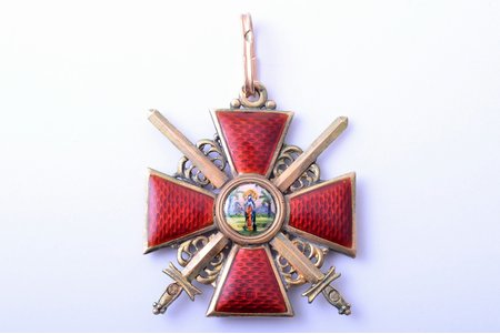 order, the Order of Saint Anna, with swords, 3rd class, gold, enamel, 56 standart, Russia, 39.3 x 34.5 mm, restoration of center