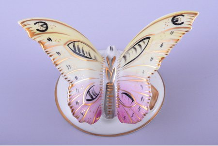figurine, Butterfly, porcelain, Riga (Latvia), USSR, Riga porcelain factory, the 50ies of 20th cent., h 5 cm, top grade