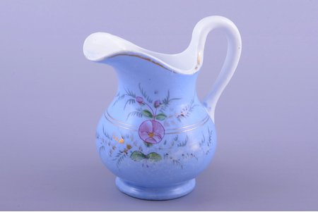 cream jug, porcelain, M.S. Kuznetsov manufactory, hand-painted, Riga (Latvia), Russia, the border of the 19th and the 20th centuries, h 12.5 cm