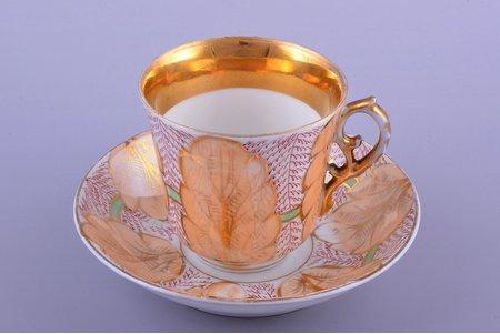 tea pair, porcelain, M.S. Kuznetsov manufactory, hand-painted, Riga (Latvia), Russia, 1870-1889, h (cup) 8.4 cm, Ø (saucer) 15.4 cm