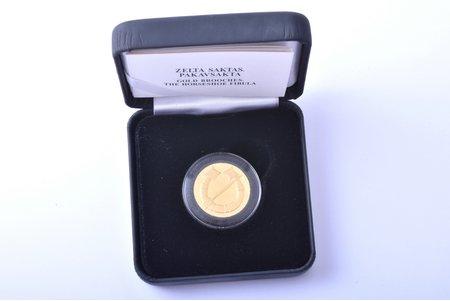 20 eiro, 2017, Sakta (The horseshoe fibula), 999 standart, gold, Latvia, 6.00 g, Ø 21 mm, Proof, in a box