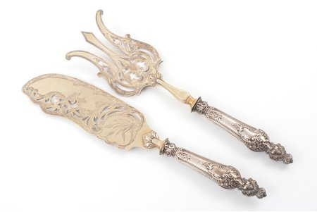 set of 2 flatware items, silver, 950 standart, metal, total weight of items 253.70g, France, 26.1 / 28.4 cm