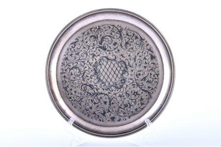 plate, silver, 84 standart, niello enamel, 1850, 200.10 g, Russia, Ø 16.9 cm