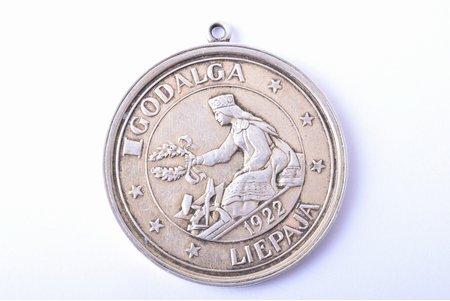медаль, премия выставки Лиепайского промышленного и ремесленного союза, серебро, Латвия, 1922 г., 40.3 x 36.5 мм, 16.90 г