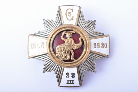 badge, 5th Cesis Infantry Regiment, Latvia, 20-30ies of 20th cent., 46.8 x 47 mm