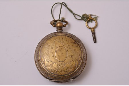 pocket watch, with a key, Switzerland, The Ottoman Empire, silver, 126.55 g, 6.7 x 5.5 cm, 40 mm, out of working condition